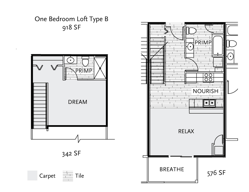 Floor Plan   1 Bedroom Loft